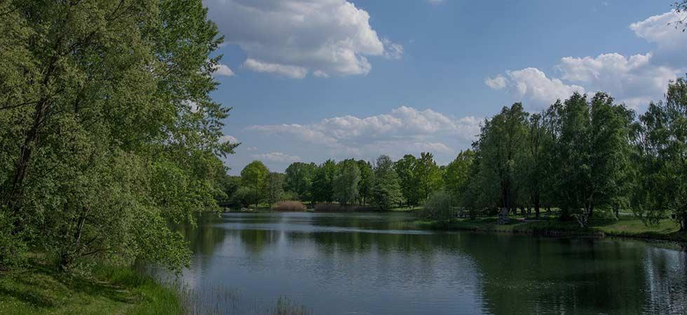 See in grüner Parklandschaft
